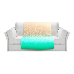 DiaNoche Designs - Throw Blanket Fleece - Gatsby Aqua Ombre Gold - Original Artwork printed to an ultra soft fleece Blanket for a unique look and feel of your living room couch or bedroom space.  DiaNoche Designs uses images from artists all over the world to create Illuminated art, Canvas Art, Sheets, Pillows, Duvets, Blankets and many other items that you can print to.  Every purchase supports an artist!