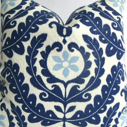Designer Decorative Blue and White Suzani Outdoor Pillow Cover by Making Fabulou