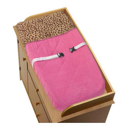 """Sweet Jojo Designs - Pink Cheetah Changing Pad Cover - The Pink Cheetah Changing Pad Cover will help complete the look of your Sweet Jojo Designs nursery. This changing pad cover can be used with standard or contoured changing pads up to 17"""" x 31"""". It also has elastic edges for a tailored, snug fit."""