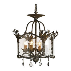 Kathy Kuo Home - Flush Mount Glass Panels Small 4 Light Chandelier - This much sought after flush mount in a size appropriate for smaller lower ceiling rooms. Seeded glass panels and a rich Viejo Gold/Viejo Silver finish make this design a true stand out.