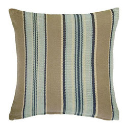 Dash and Albert Blue Heron Throw Pillow - I love Dash and Albert's pillows for their simultaneous comfort and classic boldness. This striped throw incorporates various blues and browns into one smooth look. Perfect for a classic boy's room.