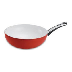Range Kleen - Pearl Enamel Wok, Red Apple - Pearl enamel red apple wok with ceramic coating colorful splash accent on outside beautiful coating is perfect for serving too! Can go straight from stove or oven to the table easy clean-up. Dishwasher-safe (Note: Over time dishwasher will slightly discolor handles). Oven-safe to 375 degrees limited lifetime household warranty. Made in Germany.