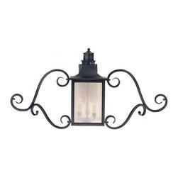 Joshua Marshal - Three Light Slate Pale Cream Seeded Glass Wall Lantern - Three Light Slate Pale Cream Seeded Glass Wall Lantern