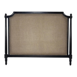 NOIR - NOIR Furniture - Isabelle Headboard - GBED108, Hand Rubbed Black, Cal King - Featuring natural, simple and classic designs, Noir products supply a timeless complement to a variety of interiors. The traditional Isabelle headboard elicits an air of modernity with burlap upholstery. Round nailhead trim and the frame's intricate detailing attract the eye, while a hand-rubbed black finish over mahogany wood delivers to bedrooms a true richness. Available in several sizes. Headboard stands flush to the wall versus attaching to a standard bed frame. Finish will feature distressed characteristics.