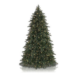 "Balsam Hill - 7.5' Balsam Hill® King Mountain Pine Artificial Christmas Tree - Our King Mountain Pine artificial Christmas tree has a regal air about it that is sure to lend a touch of elegance to your home this holiday season. The 7.5 foot version of this pre-lit easy setup tree will sparkle and dazzle with its Clear warm glow lights. Also included with this tree is a scratch-proof tree stand, soft cotton gloves for shaping the tree, storage bag, extra bulbs and fuses, and an on/off foot pedal for lights. As the best artificial Christmas tree manufacturer that is the #1 choice for set designers for TV shows such as ""Ellen"" and ""The Today Show"", in addition to being a recipient of the Good Housekeeping Seal of Approval, our trees are backed by a 5-year foliage warranty and a 3-year light warranty. Free shipping when you buy today!"
