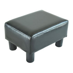 Homcom Modern Small Faux Leather Ottoman / Footrest Stool - Black - This sleek footstool ottoman can be used to match your coffee table, act as an alternative to sofas or just place it on the end of your bed.  Its soft leather exterior provides a comfortable place to put your feet as well as a comfortable place to sit. With its chic PU leather design this footrest will be able to fit into the décor of any room without having to change things up. If you are looking for a comfortable and stylish new footrest this ottoman is the perfect choice at an affordable rate.