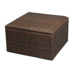 Great Deal Furniture - Kingston Outdoor Wicker Square Storage Ottoman - The Kingston Wicker Storage Ottoman is beautifully woven with PE wicker allowing it to stand up to any outdoor condition. This storage ottoman is ideal for organizational use either indoors or out. Store your extra warm blankets during the summer or your pool toys from your backyard. Regardless of how you use the Kingston's many uses, it'll be a functional and stunning piece in your home.