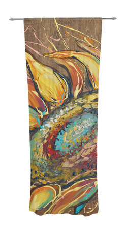 """Kess InHouse - Brienne Jepkema """"Sunflower"""" Yellow Flower Decorative Sheer Curtain - Let the light in with these sheer artistic curtains. Showcase your style with thousands of pieces of art to choose from. Spruce up your living room, bedroom, dining room, or even use as a room divider. These polyester sheer curtains are 30"""" x 84"""" and sold individually for mixing & matching of styles. Brighten your indoor decor with these transparent accent curtains."""