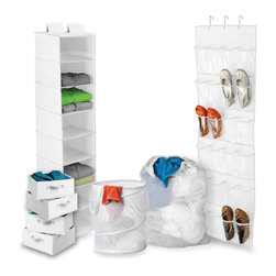 Honey Can DO - Dorm Room Closet & Laundry Kit, 8-Piece Set, White - Our Back to School 8-Piece Closet & Laundry Organizing Kit is the perfect mix for all your dorm organizational needs. The set includes an Over the Door Shoe Organizer that holds up to 12-pairs of shoes, an 8-Shelf Hanging Closet Organizer, perfect for sweaters and tee-shirts, a Pop-Up Hamper, Mesh Laundry Bag and 4 Drawers that can be used with the 8-shelf organizer or individually. Color: White.