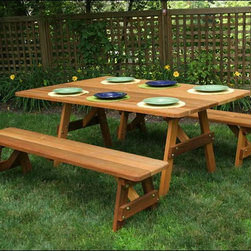 "Fifthroom - 42"" Wide Red Cedar Traditional Picnic Table w/Benches - The crossed legs and classic shape recall your old summer camp's picnic tables, but detached benches and rich red cedar let your guests know that you're all grown up!"