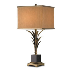 Currey and Company - Killarny Table Lamp - Fun yet sophisticated antique brass table lamp. The beige silk shade features a brass trim.