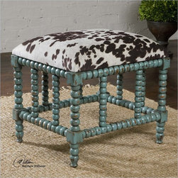 Uttermost Chahna Upholstered Small Bench in Aqua Blue - With the advanced product engineering and packaging reinforcement, uttermost maintains some of the lowest damage rates in the industry. Each product is designed, manufacturered and packaged with shipping in mind. Uttermost's small benches combine premium quality materials with unique high-style design.