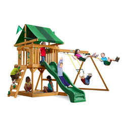 Gorilla Playsets - Cadence Swing Set - This set hits all the right notes! Your kids will love playing in the sandbox, climbing the scales on our awesome rock wall or discovering new worlds through the play telescope. The fun never falls flat on the Cadence Swing Set by Gorilla Playsets! The play deck is protected with two-toned green vinyl canopy. This premium cedar wood playset is pre-cut, pre-sanded, pre-stained and ready to assemble in your backyard over the weekend. The entire playset is finished in a beautiful amber stain.  Gorilla Playsets' cedar naturally resists rot, decay, and insect damage.