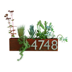 Urban Mettle - Wall Trough Planter with Address Numbers, Rust - Welcome Home. This modern address plaque and trough wall planter adds flair and style to the facade of your home with aluminum address numbers. Looks particularly great with colorful succulents!
