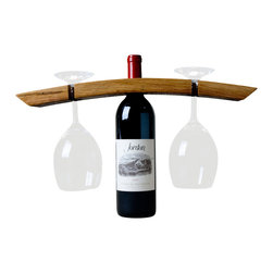 Alpine Wine Design - Wine Butler - Tempranillo for two? You've got it covered with this caddy made from a reclaimed wine stave. Pop it over your open bottle, add two of your favorite stemmed glasses and start —or end — the evening right.