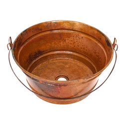 Artesano Copper Sinks - Round Vessel Bathroom Copper Sink - Round Vessel Bathroom Copper Sink 16 x 8 for Over the Counter or Vessel installation, all hand made, all copper, all hammered