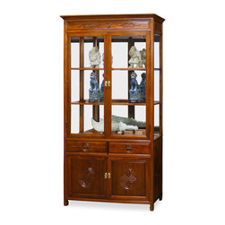 China Furniture and Arts - 42in Rosewood Longevity Motif China Cabinet - A grand curio cabinet to display your treasured collectibles. Hand carved longevity emblems decorated the entire cabinet. Made of solid rosewood with traditional joinery techniques by artisans in China. Mirror, lights, and two adjustable shelves for the upper cabinet. Two drawers and a double door compartment with removable shelf provide ample storage space for your convenience. Hand applied natural rosewood finish enhances the beauty of the wood grain. Fully assembled.