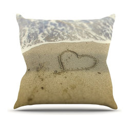 "KESS InHouse - Debbra Obertanec ""Beach Heart"" Sand Coastal Throw Pillow, Indoor, 16""x16"" - Rest among the art you love. Transform your hang out room into a hip gallery, that's also comfortable. With this pillow you can create an environment that reflects your unique style. It's amazing what a throw pillow can do to complete a room. (Kess InHouse is not responsible for pillow fighting that may occur as the result of creative stimulation)."