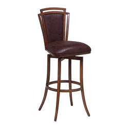 "Pastel Furniture - Citrus Grove Swivel Barstool - The Citrus Grove swivel barstool is beautifully crafted in quality metal Noyer finish with sturdy legs and foot rest. This barstool has a simple yet elegant design that is perfect for any decor. The padded seat is upholstered in Baldwin Chocolate offering comfort and style. Available in 26"" counter height or 30"" bar height."