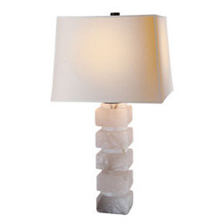 Square Chunky Stacked Table Lamp - Chart House Square Chunky Stacked Table Lamp in Alabaster with Natural Paper Shade by Visual Comfort CHA8947ALB-NP