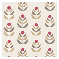 Brewster Home Fashions - Oslo Red Geometric Tulip Wallpaper Bolt - With a Scandinavian inspired design and red suede details this geometric wallpaper of a block print tulip adds unique modern charm to walls dosed in fine designer detail.