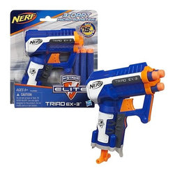 KOOLEKOO - Nerf N-Strike Elite Triad EX3 Blaster - Put some serious blasting power in your pocket with the TRIAD EX-3 blaster! Don't let this 3-dart blaster's micro size fool you � it's small but mighty, with the same long-range power as other N-STRIKE Elite blasters (sold separately). Its smart technology tells it which barrel is loaded so you can fire it with confidence. And its small size lets you conceal the blaster in the palm of your hand or a pocket, then draw fast for the element of surprise! Pull down the cocking handle to ready your shot, then fire when it's time to take down your target!