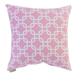 Majestic Home - Indoor Soft Pink Links Large Pillow - Talk about a chain reaction. This pillow, made of durable cotton twill, has a fresh and fabulous pattern to add dash to your favorite modern setting.