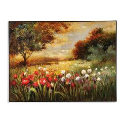 Bassett Mirror - Bassett Mirror Hand-Painted Canvas, Spring Fields - Spring Fields