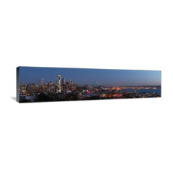 "Artsy Canvas - Seattle Skyline From Queen Anne Hill 36"" X 9"" Gallery Wrapped Canvas Wall Art - Seattle Skyline from Queen Anne Hill.  Dschwen beautifully represented on  36"" x 9"" high-quality, gallery wrapped canvas wall art"