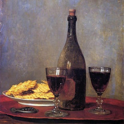 """Albert Anker Still Life: Two Glass of Red Wine, a Bottle of Wine Print - 16"""" x 20"""" Albert Anker Still Life: Two Glass of Red Wine, a Bottle of Wine; a Corkscrew and a Plate of Biscuits on a Tray premium archival print reproduced to meet museum quality standards. Our museum quality archival prints are produced using high-precision print technology for a more accurate reproduction printed on high quality, heavyweight matte presentation paper with fade-resistant, archival inks. Our progressive business model allows us to offer works of art to you at the best wholesale pricing, significantly less than art gallery prices, affordable to all. This line of artwork is produced with extra white border space (if you choose to have it framed, for your framer to work with to frame properly or utilize a larger mat and/or frame).  We present a comprehensive collection of exceptional art reproductions byAlbert Anker."""