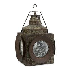 """Silver Nest - Vintage Naval Lantern- 20""""h - Unique, naval inspired lantern with verde green undertone."""
