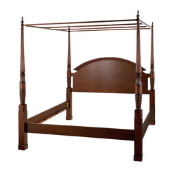 "Bombay Heritage - Herning Four Poster Bed - Our exclusive Herning bed has hallmarks of traditional styling with turned posts and intricate carvings. Antiqued mahogany 4 poster bed designed for a mattress and box spring, not included. Canopy included. Features: -Finish: Antiqued Mahogany. -Material: Hardwood, mahogany veneer. -Modified density fiberboard, resin. -4 Poster. -Slat rails. -Canopy included. -Exclusive. Dimensions: -Queen: 91.25"" H x 88"" W x 63.25"" D, 157 lbs. -King: 91.25"" H x 88"" W x 81.75"" D, 176 lbs."