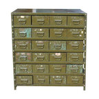 Pre-owned Green Industrial Multi-Drawer Cabinet - Comprised of 24 green metal drawers, this industrial multi-drawer cabinet is an Industrial lover's dream. It will add plenty of storage to your living room, office, retail or kitchen space. It dates back to 1945, and is in good vintage condition.