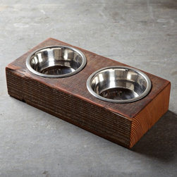 Reclaimed Wood Dog Bowl - You can't forget your four-legged friends! These dog bowls are set into a piece of reclaimed wood — a perfect example of the innovative design I love.
