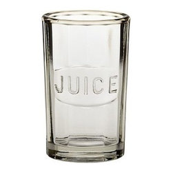 """Mack Juice Glass, Set of 6 - Crafted in the style of collectible Depression-era glass known for a slight heft and pressed patterns, this collection brings a charming simplicity to everyday meals. Juice Glass: 2.5"""" diameter, 3.75"""" high; 4 fluid ounces Highball: 3"""" diameter, 5"""" high; 11 fluid ounces Double Old-Fashioned: 3.5"""" diameter, 3.75"""" high; 11 fluid ounces Goblet: 3.5"""" diameter, 5.5"""" high; 8 fluid ounces Made of machine-molded glass. Set of 6. Dishwasher-safe."""