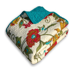 Greenland - Greenland Home Clearwater Accessory Throw Blanket - Vibrant flowered vines grace this updated tropical quilt style in gold, olive, green, red and turquoise on an antique white ground. Fabric bound edges and reverse are all-over solid color turquoise