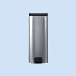 """Brabantia - 25 Liter Rectangular Pedal Bin - The unique shape of the 25 liter Rectangular Pedal Bin is space saving and is a stylish solution to fit in any modern kitchen. The bins dual hinge allows for automatic closing or you can manually adjust the hinge to stay open when needed. Durable and practical, all Touch Bins have a removable steel lid and a loose inner bin for easy cleaning. Features: -Space efficient - it fits closely to the wall or conveniently in a corner. -Strong plastic lid - odor proof and easy to clean. -Easy to clean - removable plastic inner bucket. -Sturdy carrying handle. -Shown in finger print proof matte steel. -Comes with Brabantia's 10 year guarantee. Dimensions: -26.77"""" H x 9.44"""" W x 14.76"""" D."""