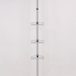 ORE International - Modern Telescopic Bathroom Pole Rack - This original modern and simple bathroom rack is designed to expand bathroom capacity, holding soaps, shampoo and other hygienic products. This model comes with three uniquely design racks with adjustable height pole to fit in any bathroom for better organization and practicality . This sleek and attractive design is small and compact in size great for storage and mobility. Made with durable and stainless steel chrome finished that never goes out of style. 13 in. W x 9 in. D x 85-105 in. H (6 lbs.)