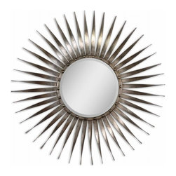 Uttermost - Antiqued Silver Leaf with Burnished tones Mirror - Frame is made of hand forged metal with bursting rays of antiqued silver leaf and burnished undertones. Mirror is beveled.