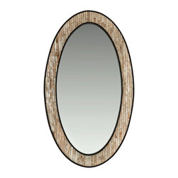 Kouboo - Oval Capiz Seashell Framed Wall Mirror - Made entirely by hand, this mirror doubles as art for you wall. It's set with capiz seashells for a luminous effect. Use it in your entry, bath or bedroom for a natural accent piece that'll remind you of the seashore.