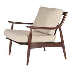 Gingko - Adam Chair, Walnut Dark/Sand - Great mid-century proportions and styling. Solid Walnut Frame.  Upholstered seat cushions. Turned legs. Curved, tapered arms. Exposed wood back.