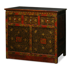 """China Furniture and Arts - Hand Painted Tibetan Cabinet - Decorated with exuberant colors, the exotic Tibetan furniture art is manifested in this beautiful cabinet. The cheerful color represents the personality of Tibetan people who are passionate with life. Features two doors and three drawers for storage convenience. Interior depth is approximately 13.5"""".Handcrafted from Elmwood and masterfully hand-painted by Tibetan artists. It is a one-of-a-kind item and will last for generations to admire. Fully assembled."""