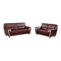 Global Furniture USA - U4180 Brown Bonded Leather Three Piece Sofa Set With Beige Accents - The U4180 sofa set will add a stylish modern look to any decor it's placed in. This sofa set comes upholstered in a beautiful brown bonded leather in the front where your body touches. Skillfully chosen match material is used on the back and sides where contact is minimal. High density foam is placed within the cushions for added comfort. Each piece features beige bonded leather accents on the front area going up the arms. The price shown includes a sofa, loveseat, and chair only.
