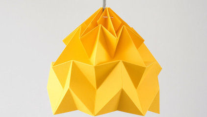 Moth origami lampshade gold yellow by nellianna on Etsy