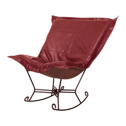Howard Elliott - Avanti Apple Scroll Puff Rocker - Mahogany Frame - Nouveau Riche! The Avanti Puff Chair is the latest and the greatest addition to the Puff Chair line. Add a touch of urban sophistication to any decor with its paneled design and supple leather look and feel, without the expense of owning real leather. This Avanti Apple piece is 100% polyurethane finished in deep red. 40 in. W x 37 in. D x 40 in. H