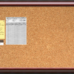 None - Cambridge Mahogany 40 x 28 Large Message Cork Boards - A beautifully framed cork board turns everyday notes and messages into an ever evolving work of art. This Cambridge Mahogany Cork Board features a rich mahogany finished frame with a black outer edging and black striation running across the frames.