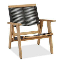 Madera Teak Rope Armchair - The rope seat and back on this teak chair contrasts with the natural wood. I'd love to put a couple of these on a deck with a view. They're the perfect spot to spend an afternoon with a book.