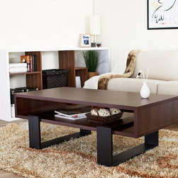 Furniture of America - Furniture of America Fayth Dark Walnut/ Black Coffee Table - Add a touch of style to your living room with this modern black coffee table. This coffee table features a simple,substantial and contemporary design with a dark walnut spacious table top. It has open shelving below for storage or display.