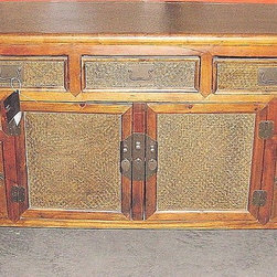 """Asian Elmwood Buffet with Tropical Rattan - Solid wood buffet hand crafted with classic simple zen lines.  Asian with tropical flair  Approximately 60"""" long."""