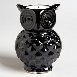 Black Ceramic Owl Candle - This cute little owl will add some candlelight to the room.